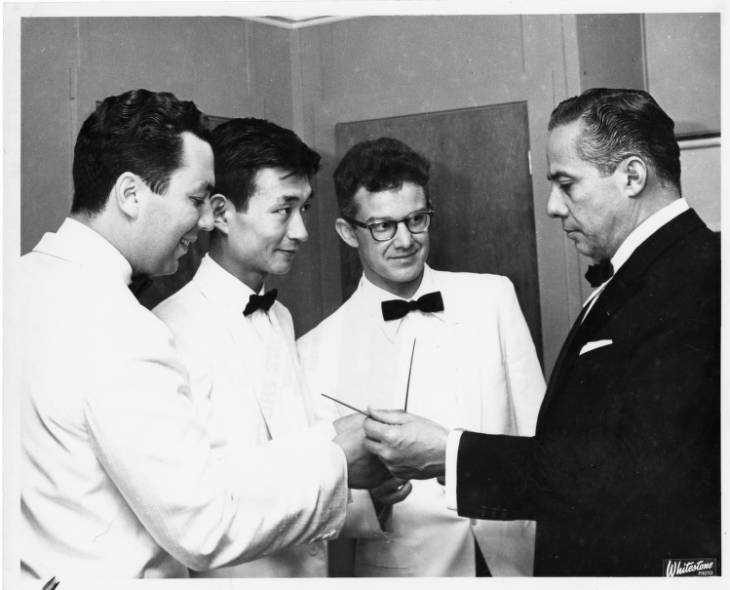 Conducting students at Tanglewood in 1960, Harold Farberman, Seiji Ozawa, Diogo Pacheco with conductor Eleazar de Carvalho, ca. 1960.
