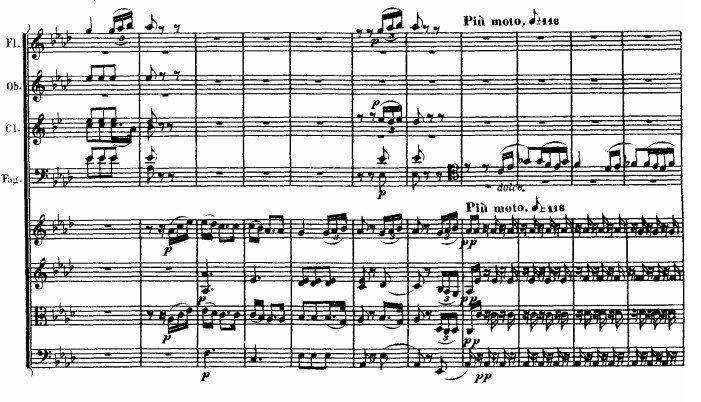 Beethoven: Symphony 5, movement 2, tempo change example