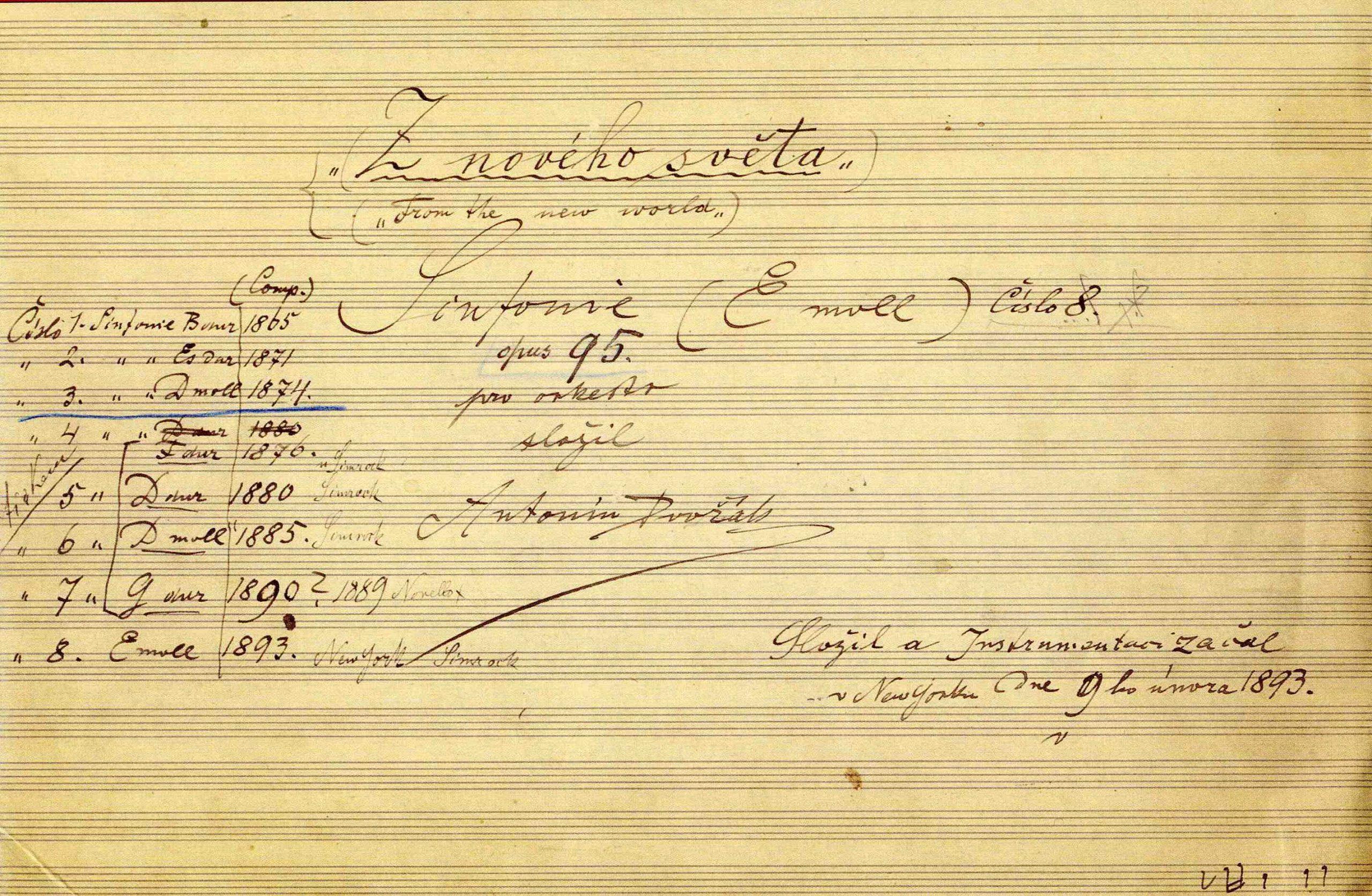 Dvořák's 9th ymphony: title page autograph